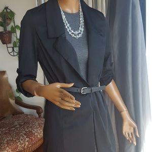 Black jacket long satin open front NWOT sz S/M
